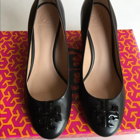 743a466d7 TORY BURCH LOWELL 65MM LEATHER WEDGE-BLACK SIZE 7